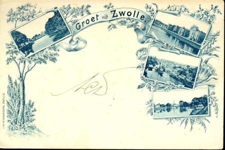 1362 PBKR4936 Schmuckkaart van Zwolle met vier foto's: de stadsgracht langs het Groot Wezenland (?); het Klein ...