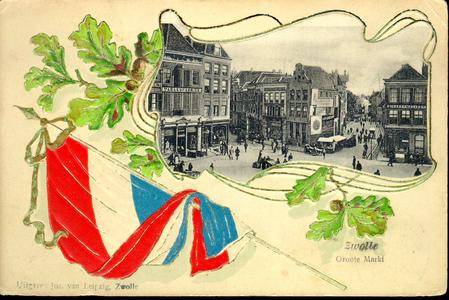 1363 PBKR4937 Reliefkaart: Nederlandse vlag met eikenbladeren. Met afbeelding van de Grote Markt met zicht op de ...