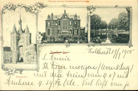 1364 PBKR4938 Combinatiekaart van Zwolle met de Sassenpoort, het gouverneurshuis (1892-1985) en de stadsgracht., 1892-00-00