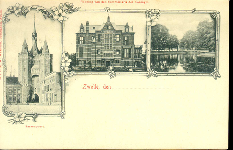 1548 PBKR4942 Combinatiekaart van Zwolle met de Sassenpoort, het gouverneurshuis (1892-1985) en de stadsgracht., 1892-00-00
