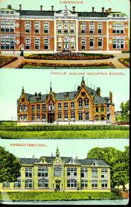 1550 PBKR4944 Drie gemeentelijke gebouwen in 1906. Boven: het gemeentelijk Sophia Ziekenhuis, Rhijnvis Feithlaan. Het ...