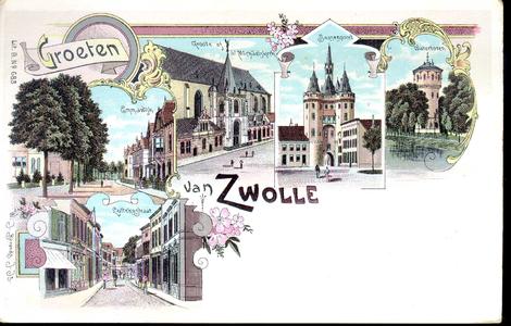 1561 PBKR4955 Combinatiekaart van Zwolle, met gekleurde tekeningen door W.J. Berends van de Emmawijk; de Grote Kerk met ...