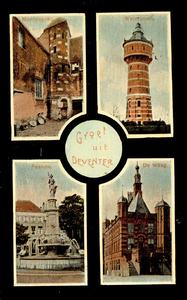 1611 PBKR5541 4 afbeeldingen van Deventer: Muntengang, Watertoren, Fontein, De Waag., 1910-00-00