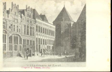 2530 PBKR3416 Sassenstraat 2, het stadhuis en rechts het koor van de Grote Kerk. Het stadhuis werd gebouwd midden 15e ...