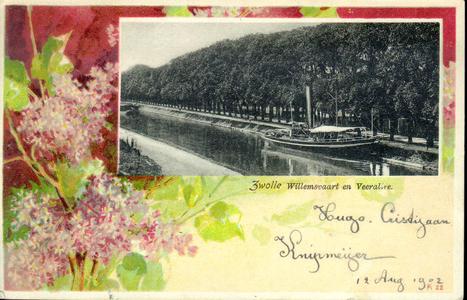 3430 PBKR4132 Prentbriefkaart met bloemmotief hortensia (?) In inzet: Willemsvaart met Veerallee, een stoomboot met ...