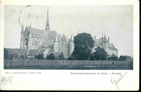 3615 PBKR0154 Dominicanenkerk en klooster (voltooid 1901-1902), gezien vanaf het nog onvoltooide Assendorperplein ...