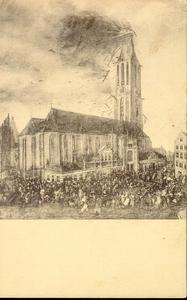 3682 PBKR1293 Briefkaart van een schilderij van Jan Grasdorp van de torenbrand van de Grote Kerk op 7 juli 1669.Zie ook ...