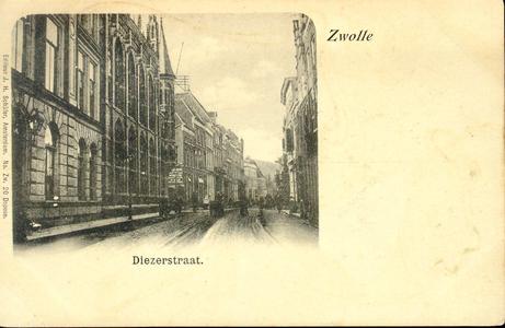 3852 PBKR0749 Gezicht in de Diezerstraat vanuit De Smeden, ca. 1900. Links het provinciehuis en daarnaast de ...