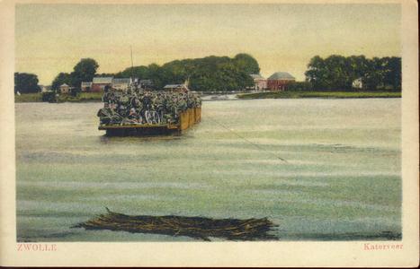 4146 PBKR1938 Ingekleurde prentbriefkaart van het Katerveer, volgeladen met militairen en een fiets. Links daarvan de ...