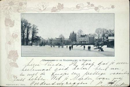 4215 PBKR3126 Winter en ijspret op de stadsgracht Wilhelminasingel ca. 1900 gezien vanaf het Groot Wezenland met een ...