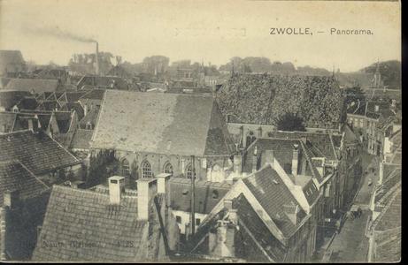 4227 PBKR3138 Walstraat, 1900, panorama vanaf de Sassenpoort naar het oosten met in het midden de Waalse Kerk of St. ...
