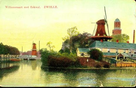 4296 PBKR0832 Ingekleurde prentbriefkaart van de stadsgracht, gezien vanaf de Keersluisbrug. Aan de rechterkant de ...