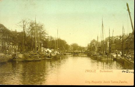4667 PBKR0342 De Thorbeckegracht ca. 1900, rechts Buitenkant, midden Vispoortenbrug (gebouwd 1868), stadsgracht met ...