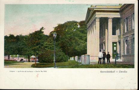 5334 PBKR2733 Ingekleurde prentbriefkaart van het Paleis van Justitie (uit 1841, ontworpen door architect E.L. de ...