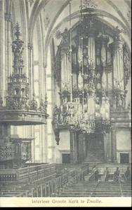 5623 PBKR1653 Grote Kerk, interieur 1916. Interieur met kerkbanken en zicht op preekstoel en orgel., 1916-00-00