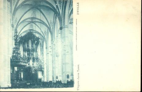 5633 PBKR1663 Grote Kerk, interieur ca. 1900.Preekstoel, kroonluchter, met op de achtergrond het orgel., 1900-00-00