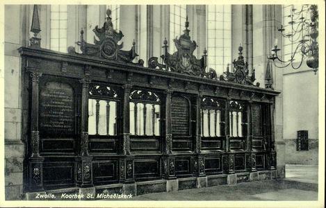 5802 PBKR1689 Grote Kerk, interieur ca. 1935.Koorhek, vervaardigd in 1597 door Swier Kistemaker., 1930-00-00