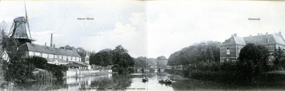 589 PBKR6522 : Panoramafoto in drie delen van de stadsgracht ( op de kaart foutief vermeld als Willemsvaart) met de ...