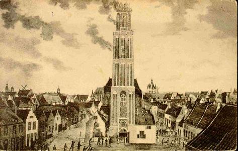 5907 PBKR0016 De brand in de Peperbus, toren van de Onze Lieve Vrouwekerk, aan de Ossenmarkt, 11 januari 1815. ...