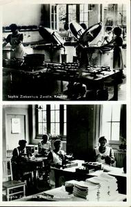 6065 PBKR2870 Rhijnvis Feithlaan, Sophia Ziekenhuis, 1946-1947. Boven Interieur keuken.Onder: interieur naaikamer.Het ...