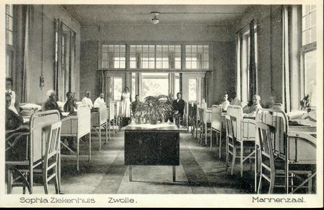 6072 PBKR2877 Rhijnvis Feithlaan, Sophia Ziekenhuis, 1925.Interieur Mannenzaal, met serre; geen afscherming tussen de ...