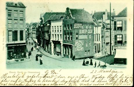 6166 PBKR0631 Diezerstraat en Grote Markt gezien vanaf de Grote Kerk, ca. 1890-1892. Het hoekhuis rechts (Grote Markt ...