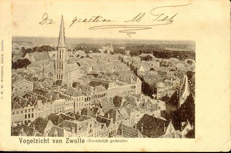 6281 PBKR2905 Binnenstad ca. 1900 naar het noorden gezien met rechts de noordgevel van de Grote Kerk aan de Grote ...