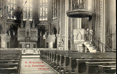 6286 PBKR2910 Interieur van de RK Sint-Michaelskerk Op de hoek van de Roggenstraat en Nieuwstraat, gesloopt 1965-1966, ...