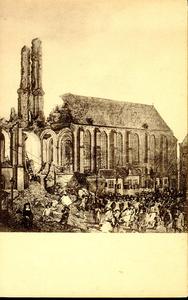 6611 PBKR1252 De ruine van de toren van de Grote Kerk na de storm van 16 december 1682 (naar een schilderij door Jan ...