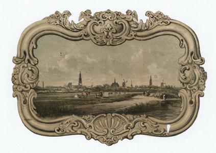 1052 -TP000952 Gezicht op Hasselt in een barokke lijst.