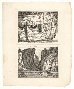 1056 -TP000956 Twee afbeeldingen op een vel 1: Gezicht op het Livener Thal bij Stalvedro, Zwitserland. Afbeelding 2 ...