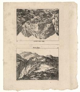 1057 -TP000957 Vel met twee afbeeldingen. Afbeelding 1: Het klooster Pfeffers omgeven door bergen. Afbeelding 2: ...