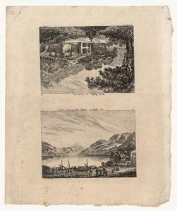 1058 -TP000958 Twee afbeeldingen op een vel. Afbeelding 1 (ondersteboven): Een gebouw uit de bergen gehakt bij de ...