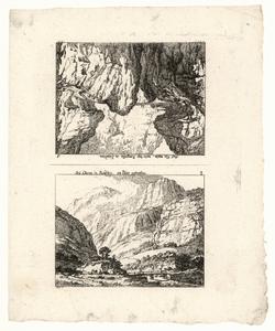1059 -TP000959 Twee afbeeldingen op een vel. Afbeelding 1 (ondersteboven): Bergen in Cleven. Afbeelding 2: Bergen in ...