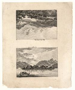 1096 -TP000960 Twee afbeeldingen op een vel waarvan een ondersteboven, illustratie voor een kalender. Afbeelding 1: Een ...