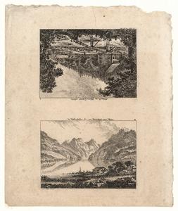 1097 -TP000961 Twee afbeeldingen waarvan een ondersteboven. Afbeelding 1: Bergen en een dorpje bij de Wallenstatter ...