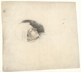 1108 -TP000972 Portret van een (slapende?) jongen met een muts op.