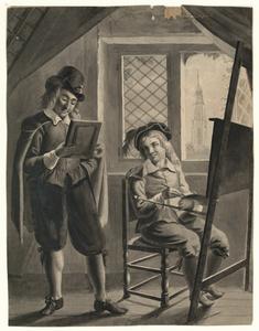 1110 -TP000974 Een jongen zit achter een schildersezel met een kwast en een palet in zijn hand. Naast hem staat een ...