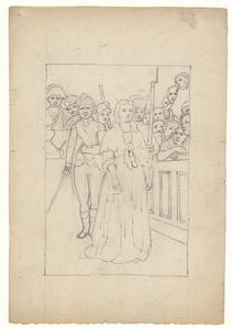 1114 -TP000978 Een afbeelding van een vrouw, met daarachter soldaten. Aan de rechterkant zitten mensen op een tribune.
