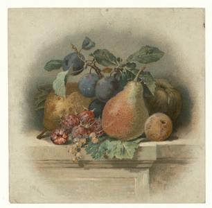 1122 -TP000986 Stilleven van diverse soorten fruit: peren, perzik, aardbeien, druiven en een appel.