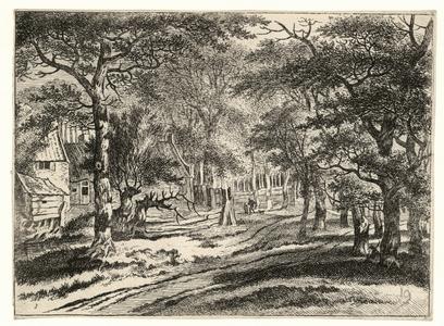 1123 -TP000987 Afbeelding van hutjes is een bos. In het midden van de tekening lopen twee mensen en een hond.
