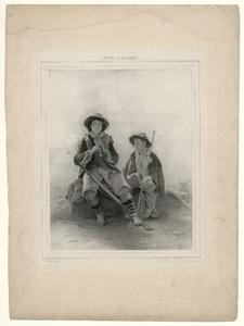 1129 -TP000993 Afbeelding van twee jonge herders die naast elkaar op een steen zitten. De ene speelt fluit en de andere ...