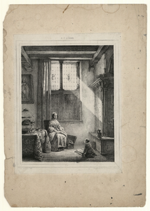 1130 -TP000994 Afbeelding van een vrouw in een huiskamer. Aan haar voeten zit een jongetje met een boek.
