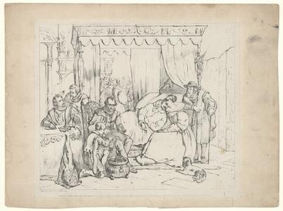 1131 -TP000995 Afbeelding van een man in zijn (sterf?) bed, die wordt vastgehouden door een vrouw. Er omheen staan ...