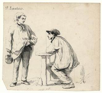 117 -TP001036 Afbeelding van twee mannen. Eén zit aan een tafel en de ander staat ervoor.