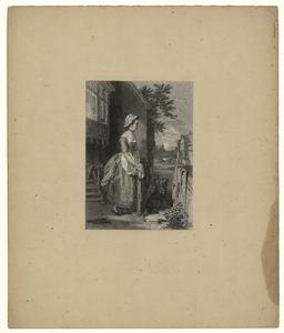 118 -TP001037 Afbeelding van een vrouw die op een hekje leunt. Eronder staan honden.
