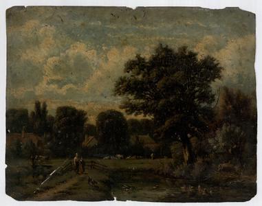 126 -TP001045 Een landschap met huizen, bomen, dieren en twee kinderen op de voorgrond.