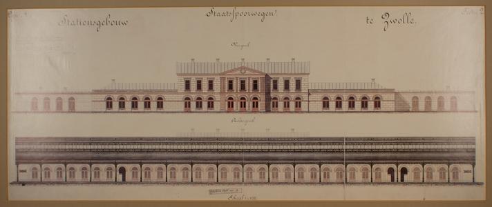 205 -TP001088 Vooraanzicht van het station Zwolle, 1864