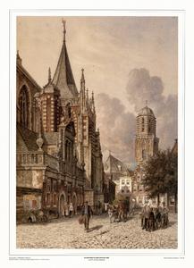 210 -TP001093 Gezicht op de Grote Markt in Zwolle, met links de Hoofdwacht en de Grote of St. Michaëlskerk en op de ...
