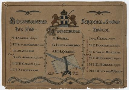 215 -TP001098 Lijst met namen van de schepenen van de stad Zwolle in 1802. Burgemeesteren Schepenen en Raaden der stad ...